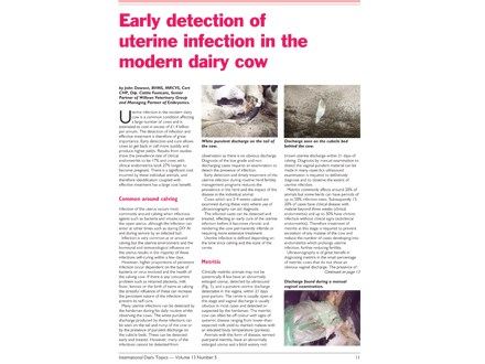 Early Detection of Uterine Infection in the Modern Dairy Cow